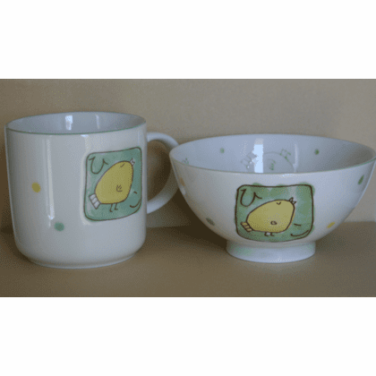 Yellow Chicky Rice Bowl Chawan & <br>Mug Set