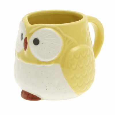 Yellow Moon Owl Mug, 9 oz.