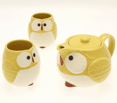 Yellow Moon Owl Tea Set
