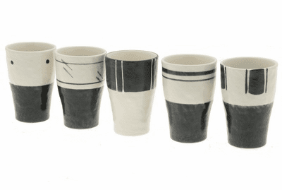 Zen Mono Natural Tea Cups for Five, 6.5 oz.