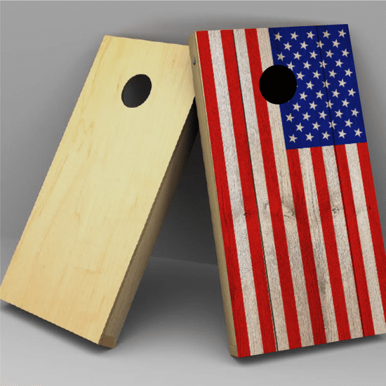USA Flag Wood Grain Cornhole Board Vinyl Decal Wrap