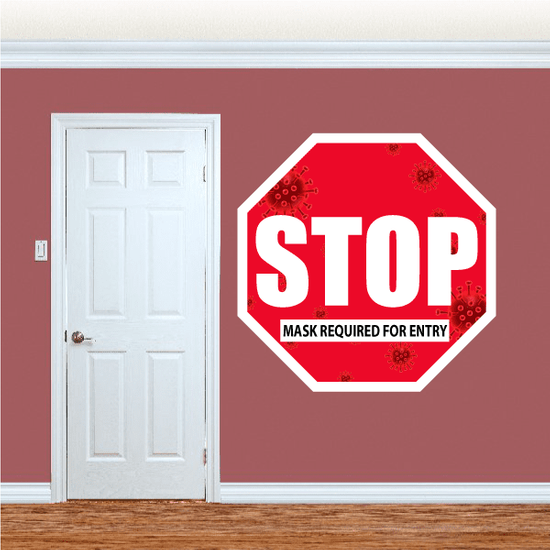 Stop Sign - Mask Required - COVID19 Window or Wall Sticker