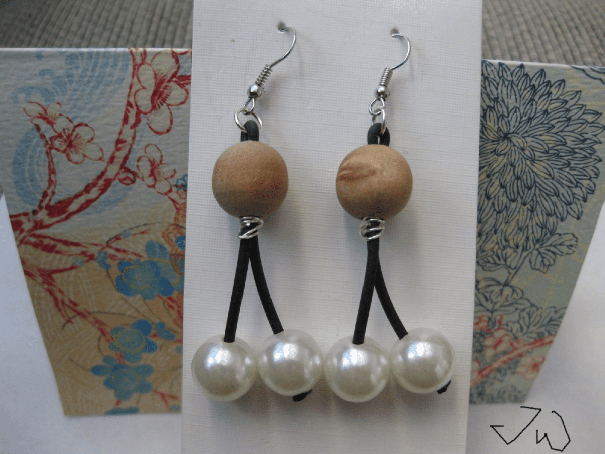 1 Wood bead and 2 Pearl bead Stainless Steel Earrings
