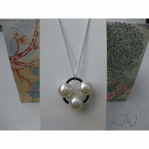 3 Pearl Beads Silver Plated Necklace