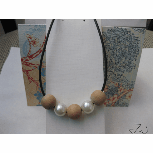 3 Wood beads and 2 Pearl Beads Necklace