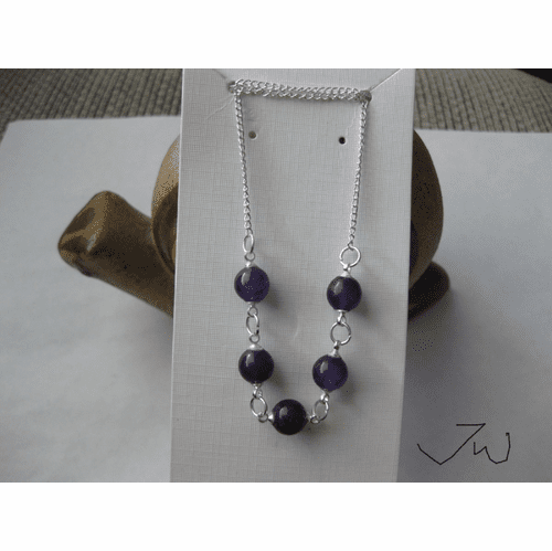 5 Purple Amethyst Beads Necklace