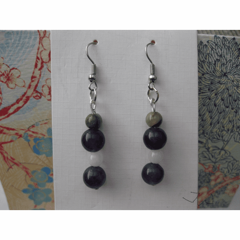 Amethyst and Jade Stainless Steel Earrings