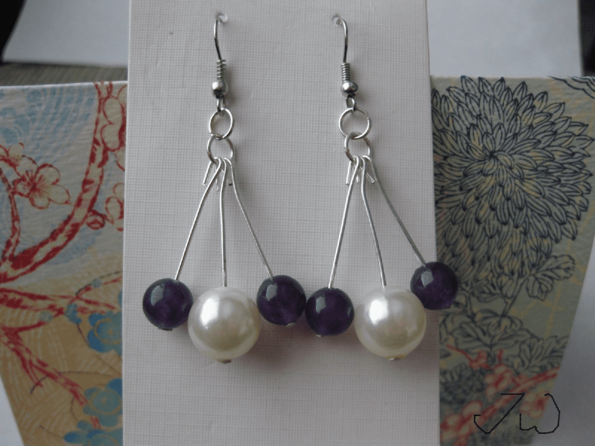 Amethyst and Pearl bead Stainless Steel Earrings
