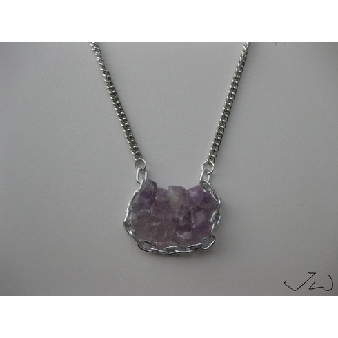 Amethyst Asian Lock Style Chain Necklace