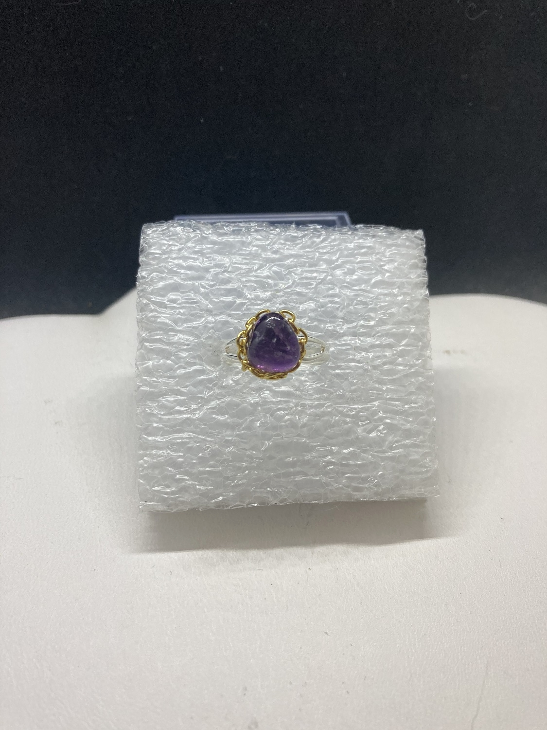 Amethyst Stainless Steel Ring with gold chain
