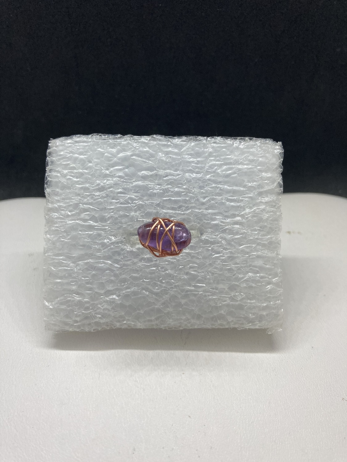 Amethyst Wired Tibetan Silver Ring