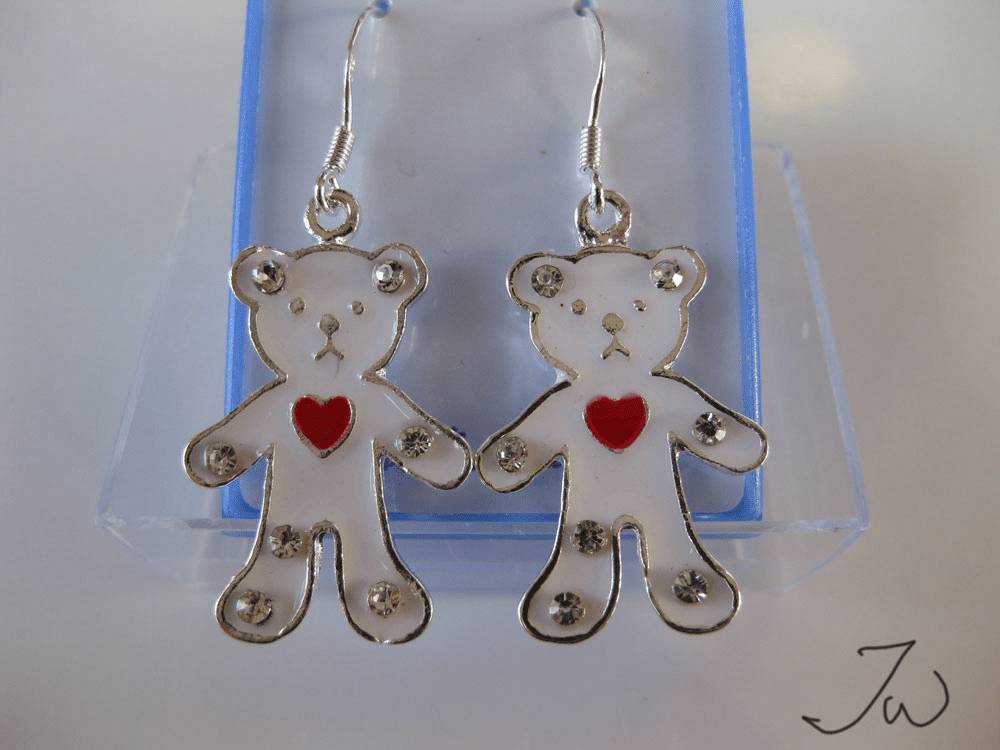 Love Bear .925 Sterling Silver Plated Earrings