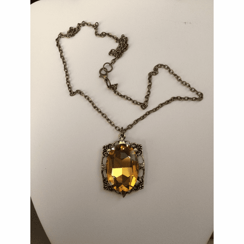 Big Orange CZ Bronze Pendant Chain Necklace