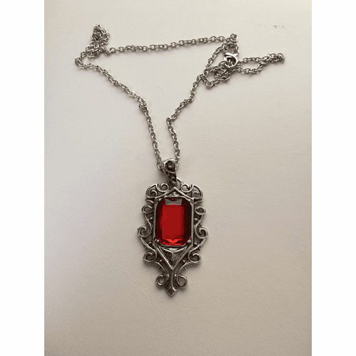 Big Red Cz Tibetan Silver Chain Necklace