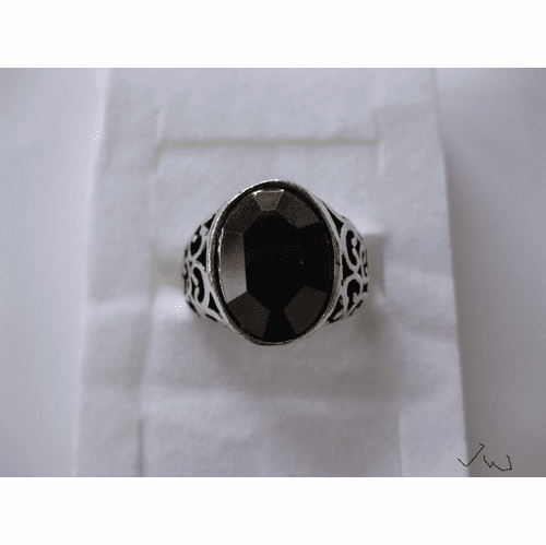 Black CZ Tibetan Silver Ring - 2154