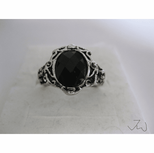 Black CZ Tibetan Silver Ring