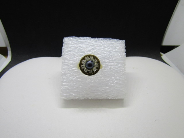 Black pearl bead gold stainless steel ring with czs