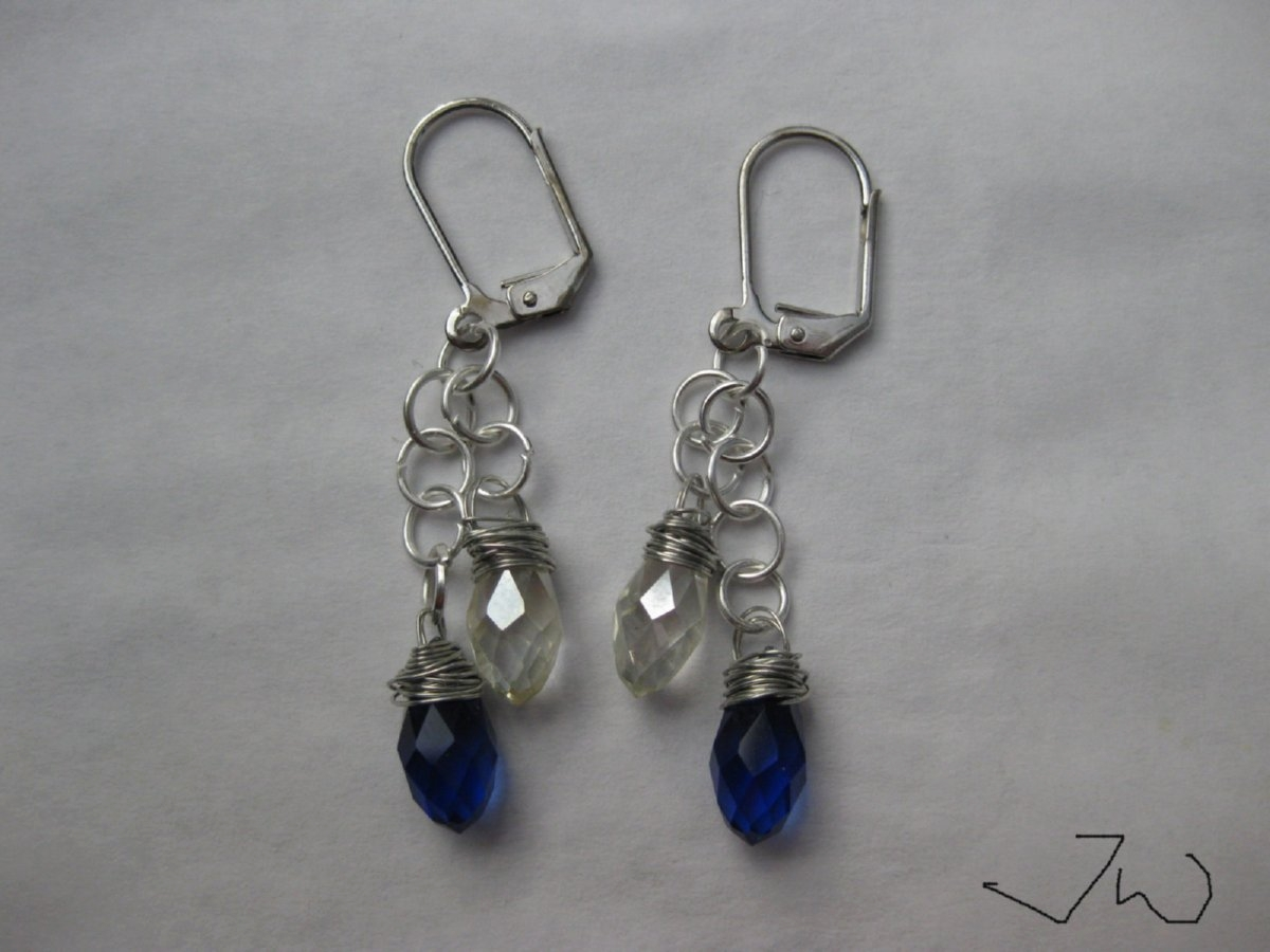 Blue and Clear Crystal Beads Leverback Hoop Earrings