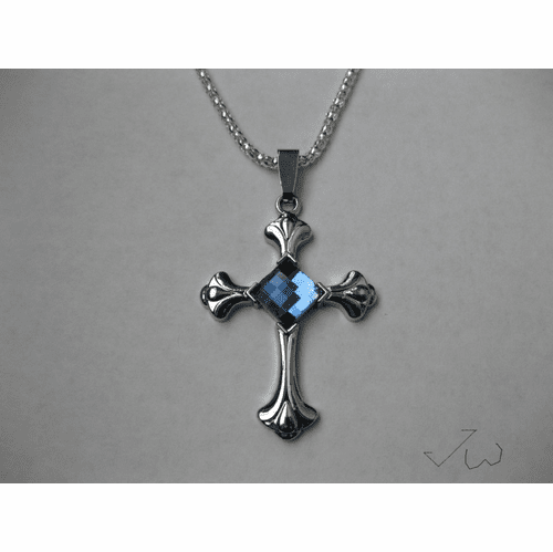 Blue Crystal Cross Stainless Steel Pendant Necklace
