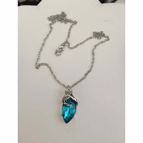 Blue Cz Tibetan Silver Chain Necklace