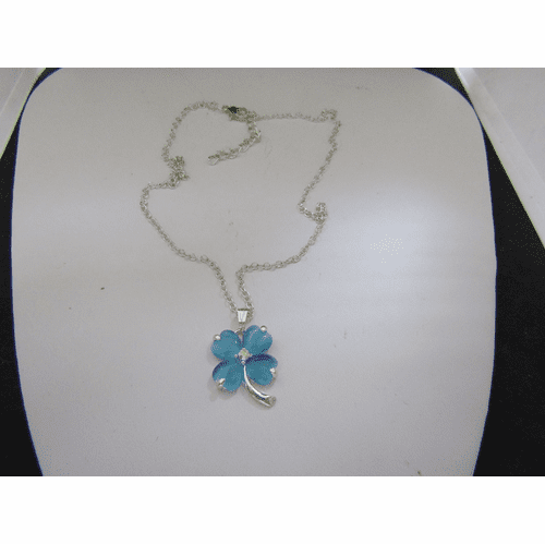 Blue Lucky Leaf Chain Necklace
