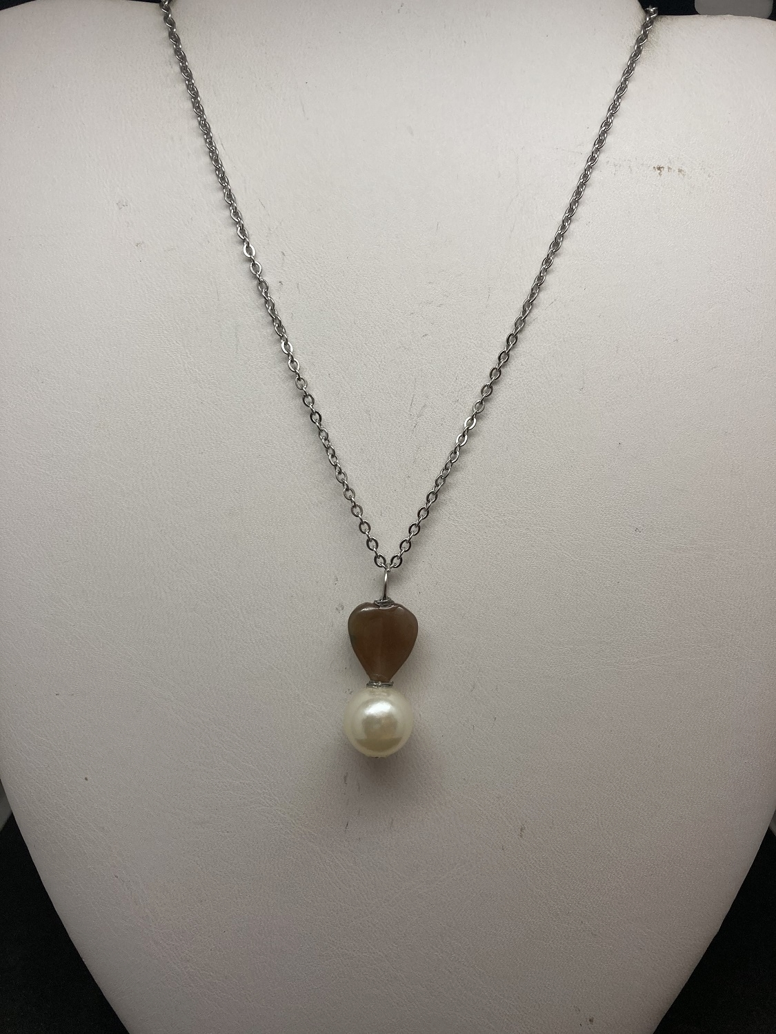 Brown Quartz Heart Chain Necklace with Pearl Bead