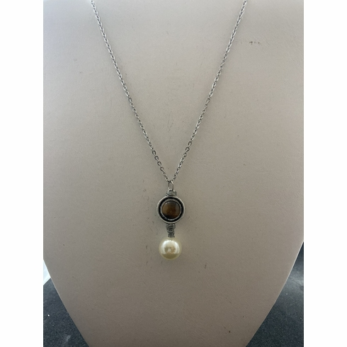 Brown tiger eye stainless steel necklace with pearl bead