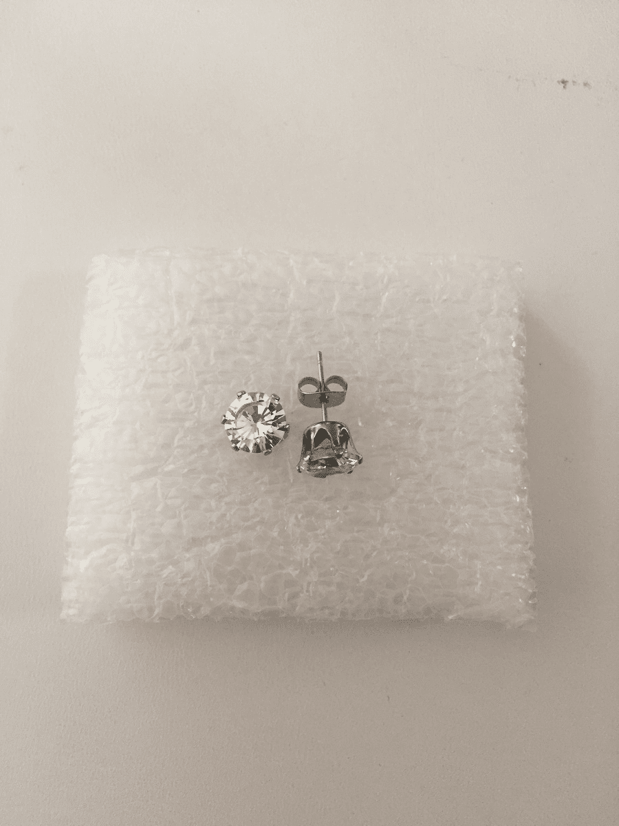 Clear CZ Stainless Steel Stud Earrings