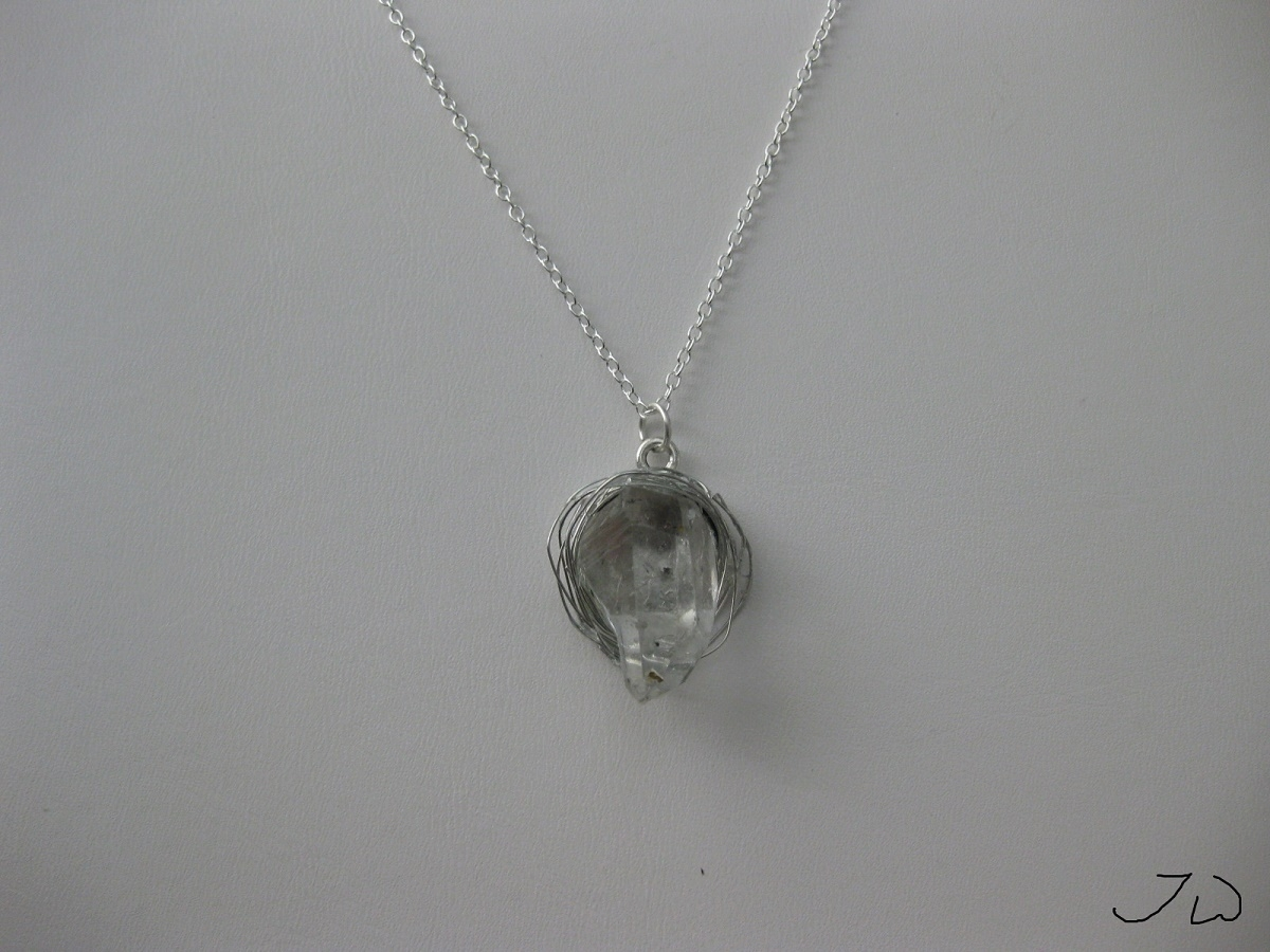 Clear Quartz chain necklace with wire