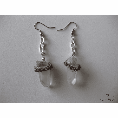 Clear quartz Stainless Steel Earrings with Brown chain