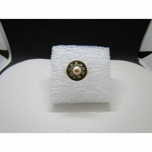 Cream pearl bead gold stainless steel ring with czs