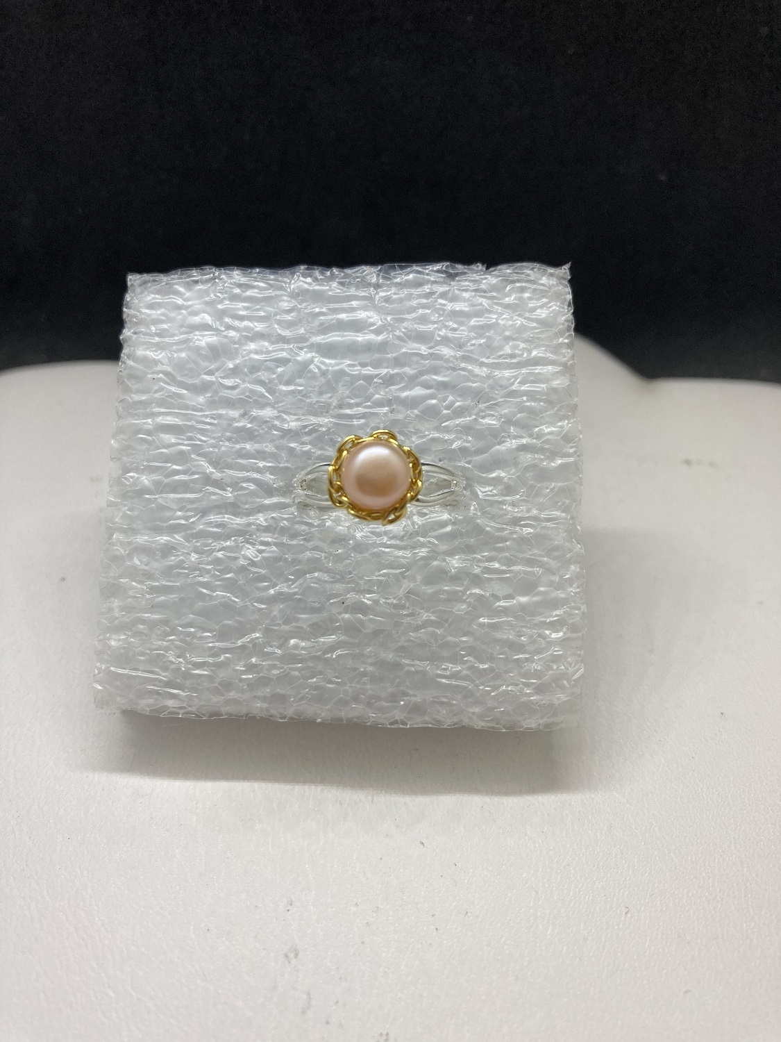 Cream pearl bead ring with gold chain