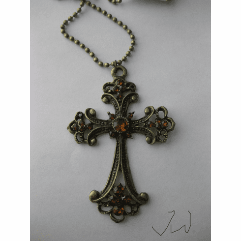 Cross Bronze Pendant Necklace