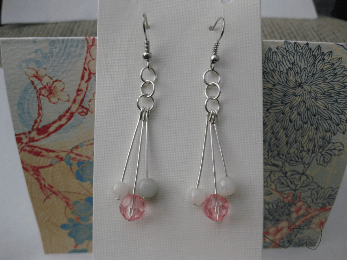 Crystal and Jade Stainless Steel Earrings