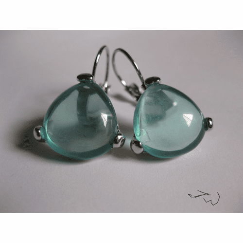 Crystal Hoop Clip-on Earrings - Ocean Green