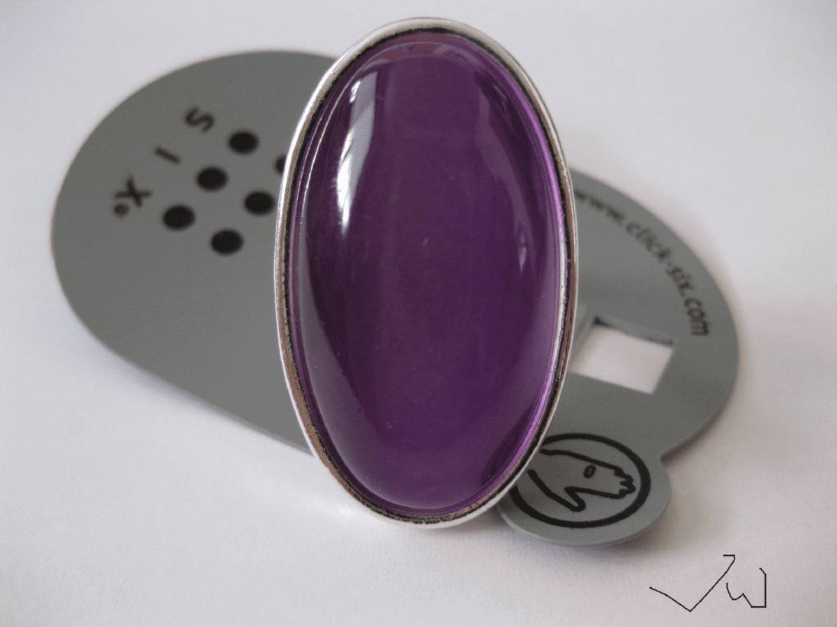 Crystal Stone Silver Plated Ring - Purple