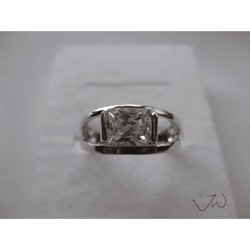 CZ 18KT White Gold Plated Ring