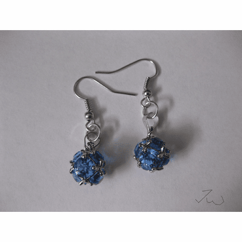 CZ Ball Stainless Steel Earrings - Blue