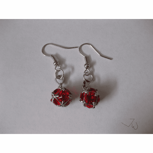 CZ Ball Stainless Steel Earrings - Red