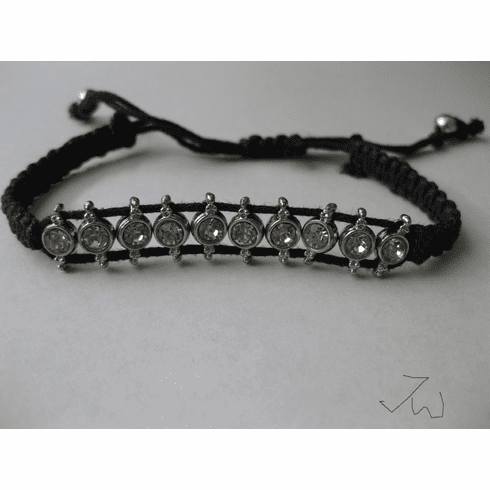 CZ Friendship Charm Bracelet - Black