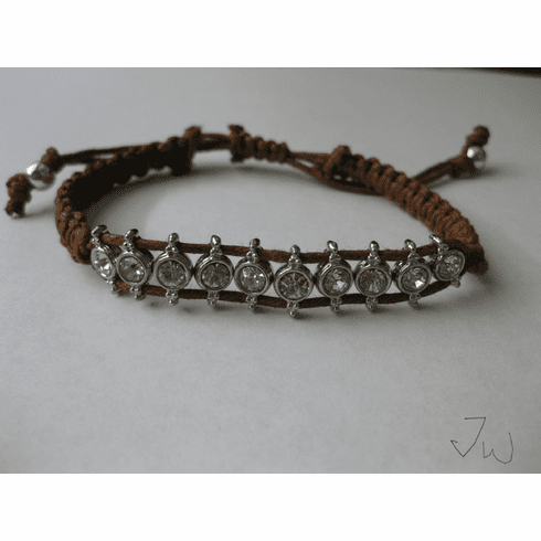 CZ Friendship Charm Bracelet - Brown