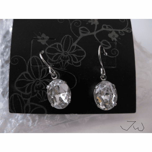 Cz stainless steel dangle earrings
