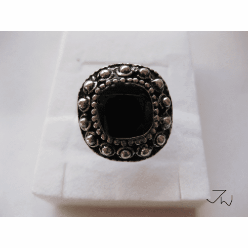 CZ Tibetan Silver Ring - Black