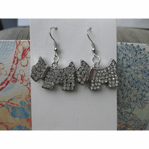 Dog CZs Stainless Steel Dangle Earrings