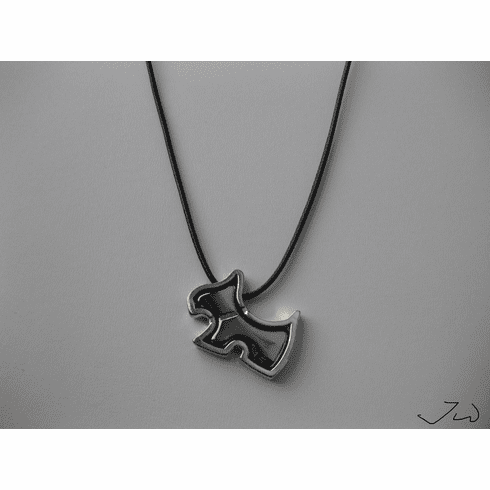 Dog Stainless Steel Pendant Leather Necklace