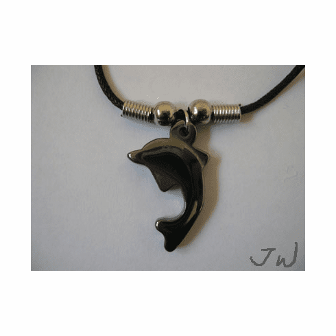 Dolphin leather necklace