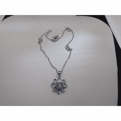 Flower CZ Chain Necklace
