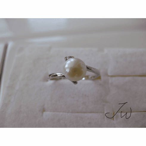 Freshwater Pearl 10KT White Gold Plated ring - 85