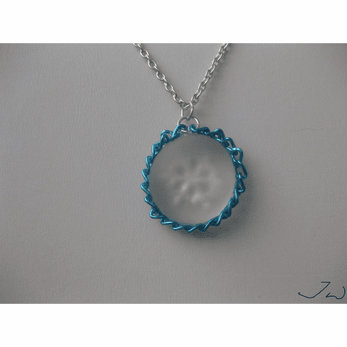Frozen Snowflake Round Glass Drop Necklace