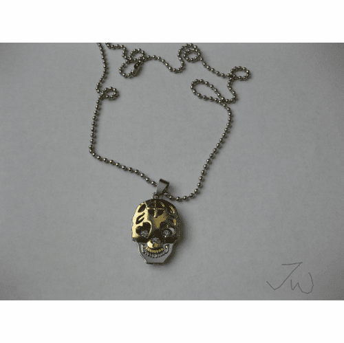 Gold Skull Pendant Stainless Steel Chain Necklace